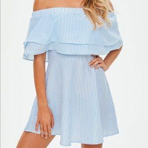 Missguided Blue & White Stripe Ruffle Bardot Dress